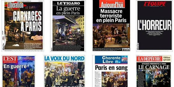 Paris attentats journaux 010116